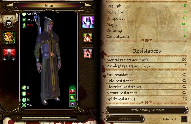 dragon age origins blood mage stats