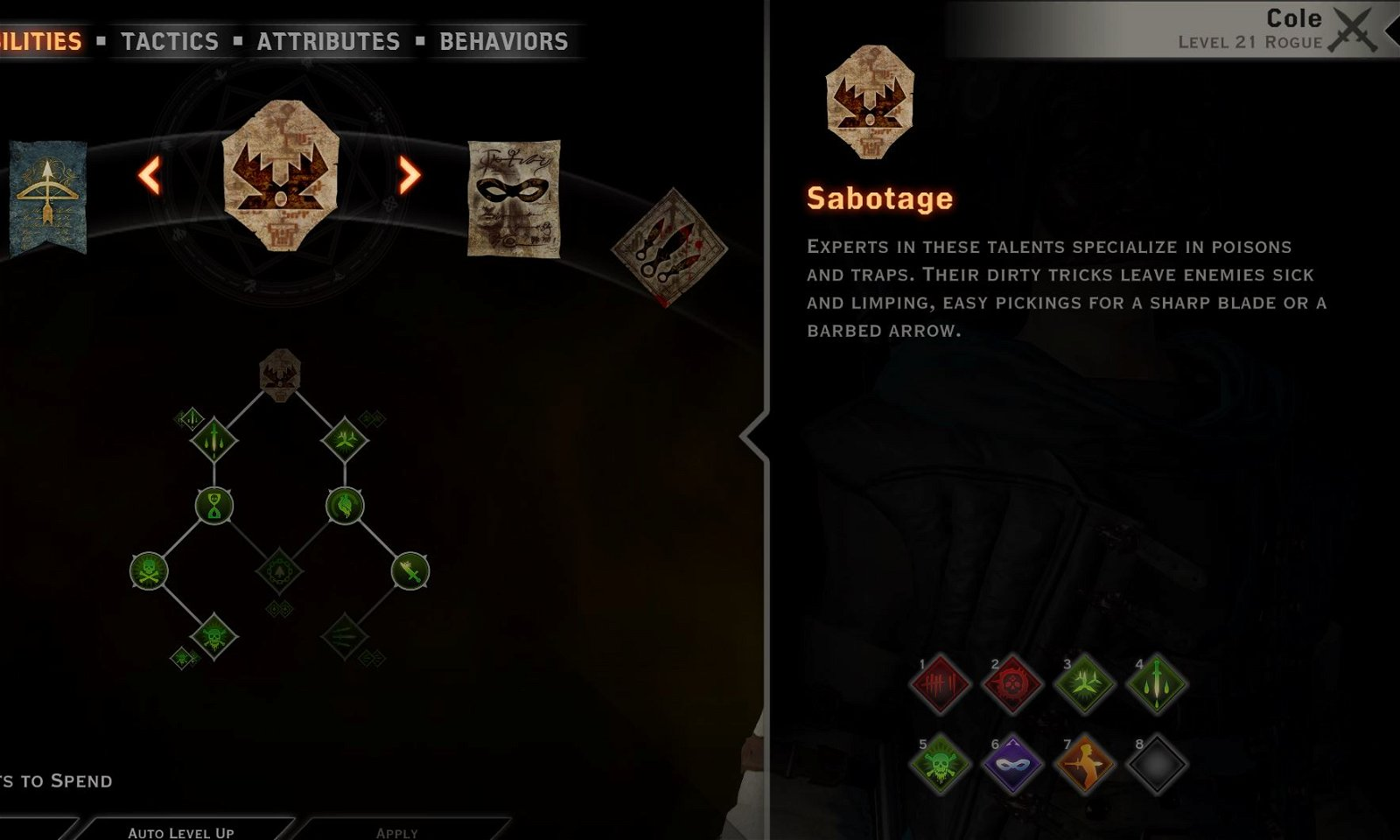 Cole dw build Sabotage tree